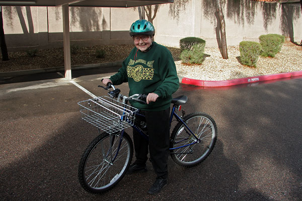 Oma Jutta Engelhardt getting ready to ride a bicycle for the first time in 30 years in Phoenix, Arizona