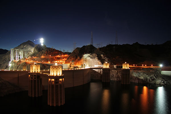 Hoover Dam from the Arizona side during early evening