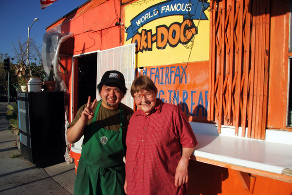 Yuta and Jutta at Oki Dog in Los Angeles, California