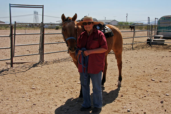 Jutta Engelhardt and the horse she rode today at Chile Acres in Tonopah, Arizona