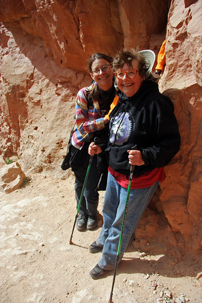 Caroline Wise and Jutta Engelhardt ascending the South Kaibab Trail in the Grand Canyon National Park, Arizona
