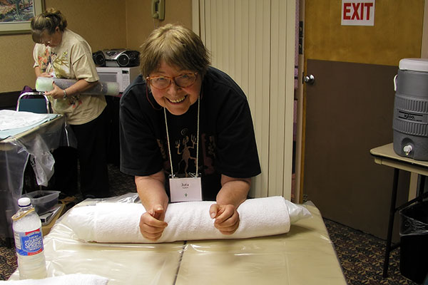 Jutta Engelhardt at Fibers Through Time in Tucson, Arizona learning how to felt